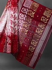 Red And White Handwoven Jamdani Saree - ROSHNI