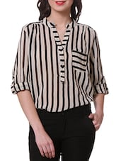 Mandarin Collar Monochrome Striped Shirt - Purys