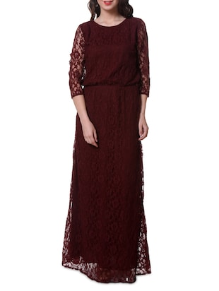 Maroon Lacy Round Neck Blouse On Maxi Dress