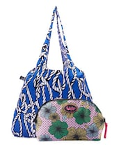 Printed Tote Bag & Floral Pouch Combo - Be... For Bag