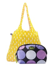 Sea Horse Printed Tote Bag & Polka Dots Pouch Combo - Be... For Bag