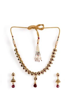 Kundan Necklace Set With Ruby Drop - Jorie Bazaar