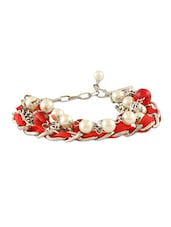 Red Acrylic & Metal Alloy Bracelet - Blend Fashion Accessories