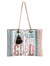Graphic Printed Cotton Canvas Tote Bag - The House Of Tara