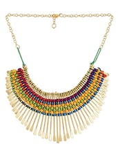 Woven pattern spiky necklace