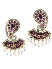 Gold Plated Alloy With Purple Crystals Earrings - Rich Lady