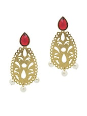 Gold Plated Alloy With Red Crystals Earrings - Rich Lady