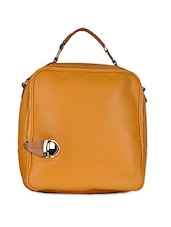 Yellow Plain Solid Leatherette Handbag - Hopping Street