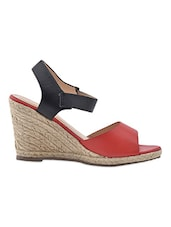 Black And Red Faux Leather Wedges - Klaur Melbourne