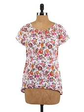 Short Sleeves Floral Print Crepe Top - Fashion205