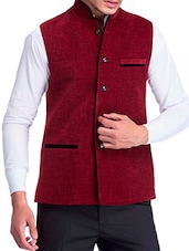 maroon molfino waist coat -  online shopping for Waist coat