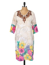 Floral Print Georgette Kurta - Fashion205