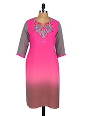 Pink And Grey Embroidered Georgette Kurta - Fashion205