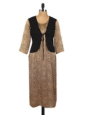 Beige & Black Printed Crepe Kurta - Fashion205