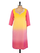 Ombre Effect Quarter Sleeves Georgette Kurta - Fashion205