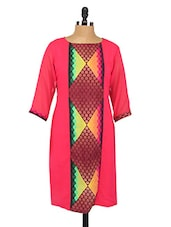 Quarter Sleeves Printed Crepe Kurta - Fashion205