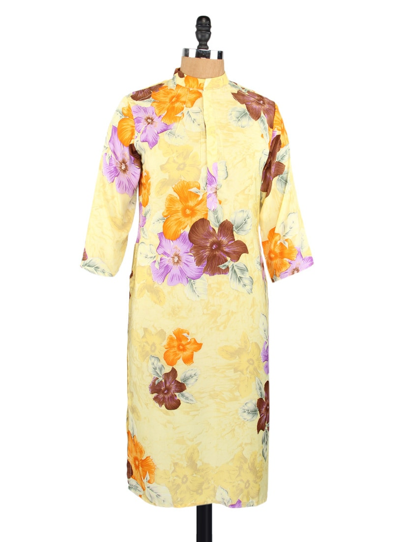 Quarter Sleeves Floral Print Crepe Kurta - Fashion205