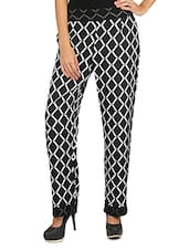 Black & White Geometric Print Crepe Pant - Fashion205