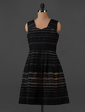 Self Striped Sleeveless Dress - Forever Fashion