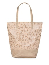 Printed Leatherette Tote Bag - Hotberries