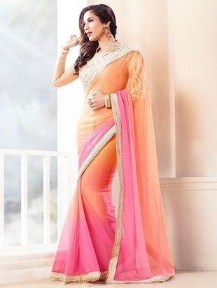 Two Toned Sarees | Peach georgette bordered saree By Limeroad @ Rs.2,000