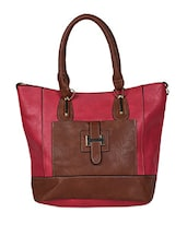 Colour Block Leatherette Handbag - Hotberries