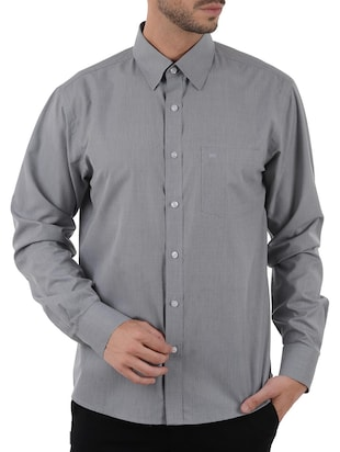 grey cotton blend formal shirt
