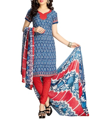 blue and red polyester,  georgette unstitched suit