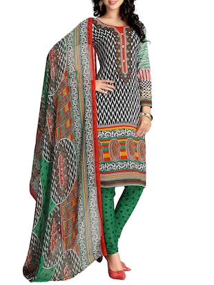 black and green polyester,  georgette unstitched suit