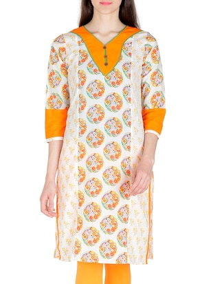 white & orange cotton kurta