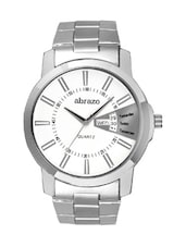 white colored metal alloy quartz watch, with date and day display -  online shopping for Analog Watches