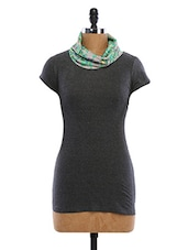 Cowl Neck Short Sleeve Cotton Top - WAS