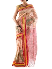 Striped Border Printed Handloom Cotton Saree - Mmantra