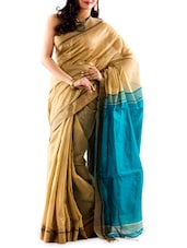 Striped Border Contrasting Pallu Handloom Cotton Saree - Mmantra