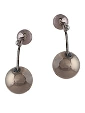 Metallic Black Color  Metal Alloy Earrings - Femnmas