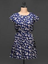 Blue Butterfly Print Polycrepe Dress - Raaziba