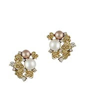Golden Flower With Beige Pearls Stud Earrings - THE BLING STUDIO