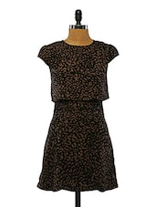 Printed Black Polyester Dress - VINEGAR