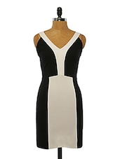 Monochrome Cut-out Polyester Dress - VINEGAR