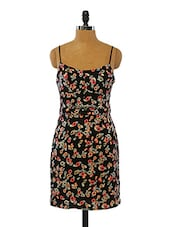 Black Floral Printed Polyester Dress - VINEGAR