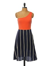 Colourblocked Striped Polyester Dress - VINEGAR