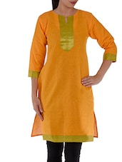 Yellow 3/4th Sleeves Cotton Kurti - Villagsio