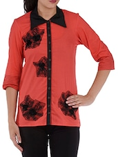 Red Lace Patch Cotton Shirt - Villagsio