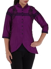 Purple Mandarin Collar Cotton  Top - Villagsio