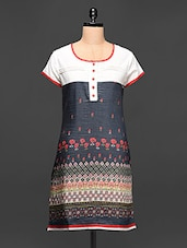 Multipattern Floral Printed Short Sleeve Kurti - Paislei