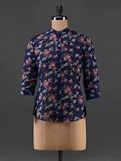 Floral Print Mandarin Collar Georgette Top - AKYRA