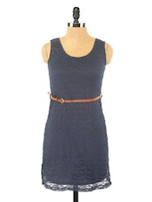 Navy Blue Sleeveless Lace Dress - Globus