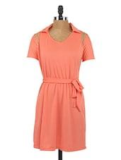 Solid Orange Cut-Out Shoulder Dress - Globus