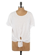 Front Knot Round Neck Polyester Top - Globus