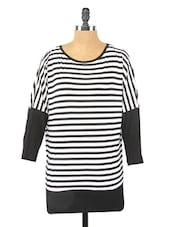 Black & White Striped Viscose Top - Globus